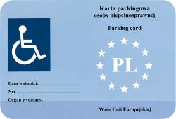 Karta parkingowa osoby niepełnosprawnej